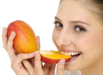 Woman eating Mango