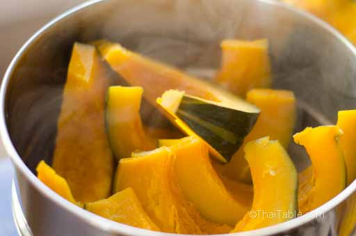 Steam the pumpkin wedges for 15-20 minutes depending on the size of your steamer and the pumpkin.