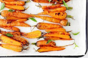 roasted carrots on white platter